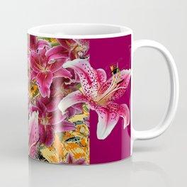 BURGUNDY STAR GAZER LILY FLOWER  ART Coffee Mug