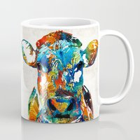 nba Mugs featuring Colorful Cow Art - Mootown - By Sharon Cummings by Sharon Cummings