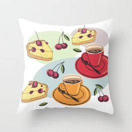 Cherry Pie And A Hot Cup Of Coffee Throw Pillow