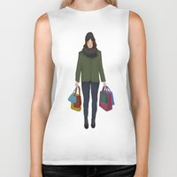 shopping Biker Tanks featuring christmas shopping by Lenas 9th Art