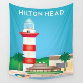 Hilton Head, South Carolina - Skyline Illustration by Loose Petals Wall Tapestry