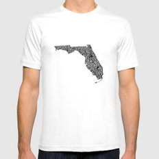 Typographic Florida MEDIUM White Mens Fitted Tee