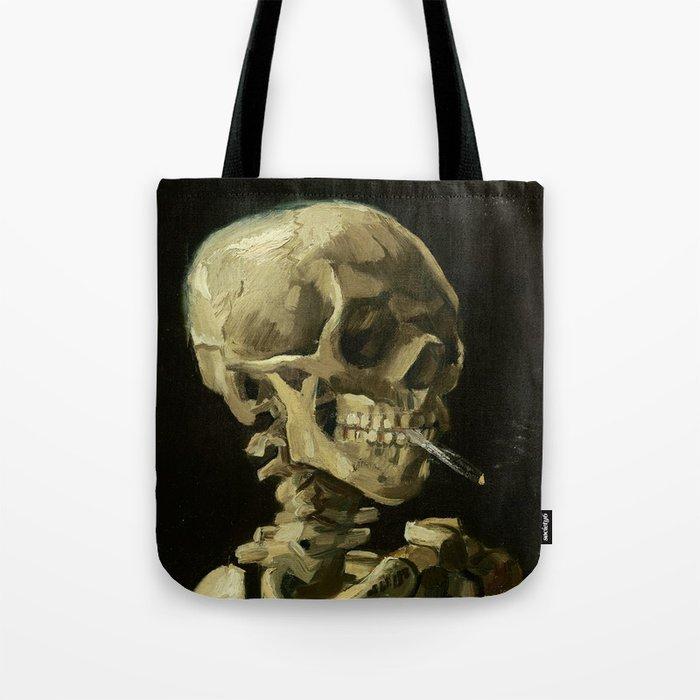Skull of a Skeleton with Burning Cigarette by Vincent van Gogh Tote Bag