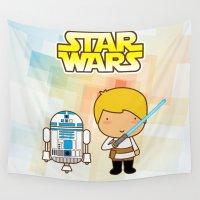 luke hemmings Wall Tapestries featuring Luke Skywalker and R2D2 by Jazmin Cruz