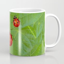 RED LADY BUGS ON GREEN LEAVES DESIGN ART Coffee Mug