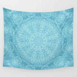 Abstract blue thistle mandala Wall Tapestry