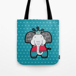 Doodle Elephant on Blue Background Tote Bag