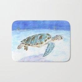 Sea turtle underwater Bath Mat