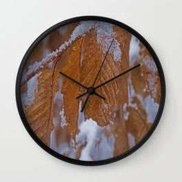 snow and leaves Wall Clock
