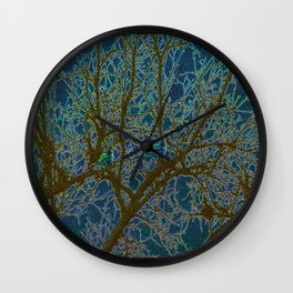 Jeweled Birds In Winter Tree Wall Clock