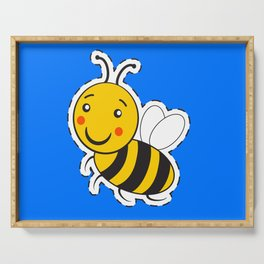 Cartoon cute striped little bumble bee Serving Tray