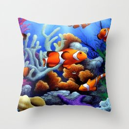 Coral Reef and Clownfish Throw Pillow