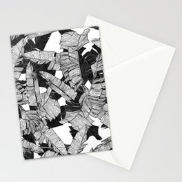 Modern Black and White Tropical Banana Leaves Stationery Cards