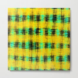 plaid pattern abstract texture in yellow green black Metal Print