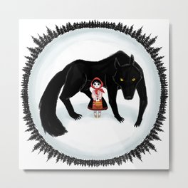 Little Red Riding Hood and the Big Bad Wolf Metal Print