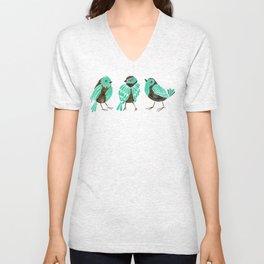 Turquoise Finches Unisex V-Neck