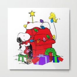Snoopy Christmas Gift Metal Print