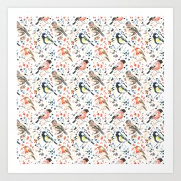 Watercour Painted British Birds Art Print