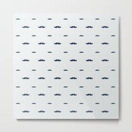 Hipster Moustache Pattern Metal Print