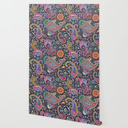 Oriental Persian Paisley - Green Pink Blue Yellow Wallpaper