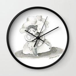 Love my husky   children illustration   black and white Ink Wall Clock