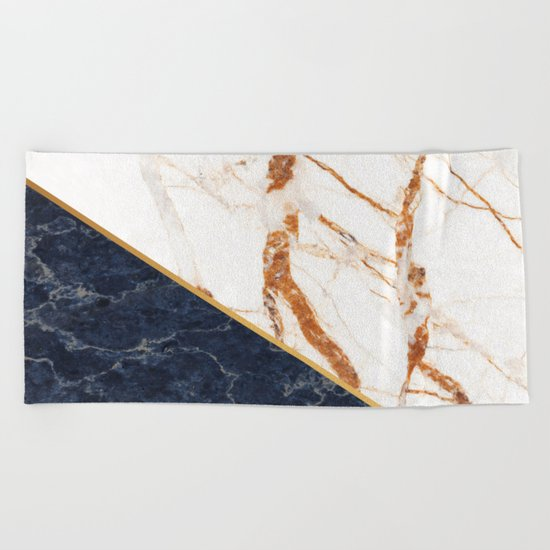 Classy Elegant White Blue Gold Marble Beach Towel