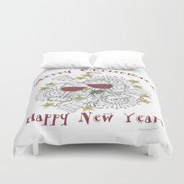 Merry Christmas & Happy New Year - Zentangle Illustration Duvet Cover