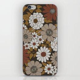 Brown, Orange, and Ivory Retro Flower Pattern iPhone Skin