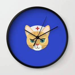 Nurse Cat ~ Blue Wall Clock