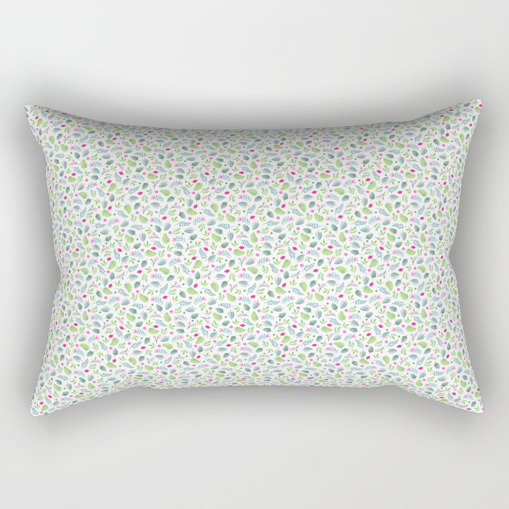 Vibrant Floral Doodles On White. Watercolor Flower… Rectangular Pillow RPW8839527