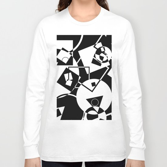 Simply Black And white - Abstract, geometric, retro, black and white random pattern Long Sleeve T-shirt