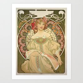 Vintage poster - Woman with flowers Art Print
