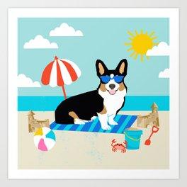 Tri Corgi Sandcastles Summer Beach Day sun corgi art tricolored corgi dog Art Print