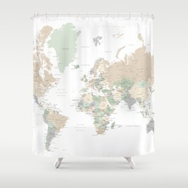 """World map with cities, """"Anouk"""" Shower Curtain"""