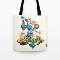 Pinup Samus Tattoo Bomber Girl Tote Bag