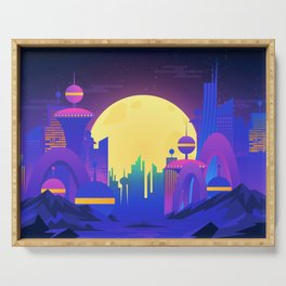 Synthwave Neon City #13 Serving Tray
