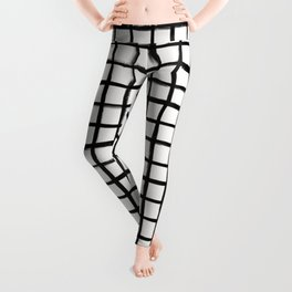 Strokes Grid - Black on Off White Leggings