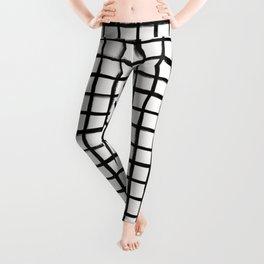 Strokes Grid - Black on Off White Leggings