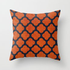 navy and orange clover Throw Pillow