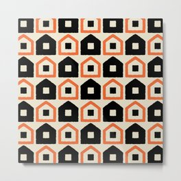 Mid Century Modern House Dot Pattern 971 Black and Orange Metal Print