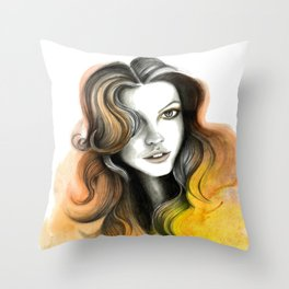 Yellow and Orange Flame Hair Throw Pillow