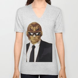 Captain Falcon in Formal Attire Unisex V-Neck