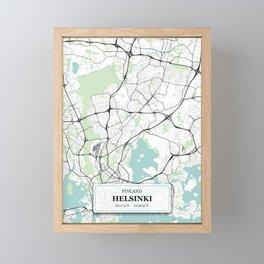 Helsinki, Finland City Map with GPS Coordinates Framed Mini Art Print