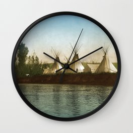 Crow Indian Camp on the Rivers Edge Wall Clock