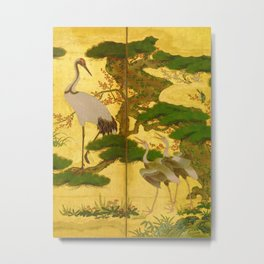 16th Century Japanese Birds & Flowers Metal Print