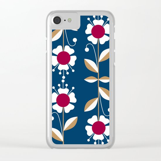 Blue floral pattern . Clear iPhone Case