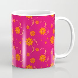 Orange Daisy Flowers on Hot Pink Background Coffee Mug