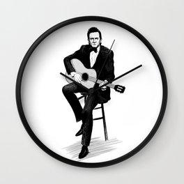 Johnny Cash Dark Ink Wall Clock