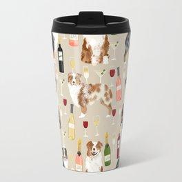 Australian Shepherd blue and red merle wine cocktails yappy hour pattern dog breed Travel Mug