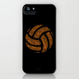 Orange Volleyball Wordcloud - Gift iPhone Case